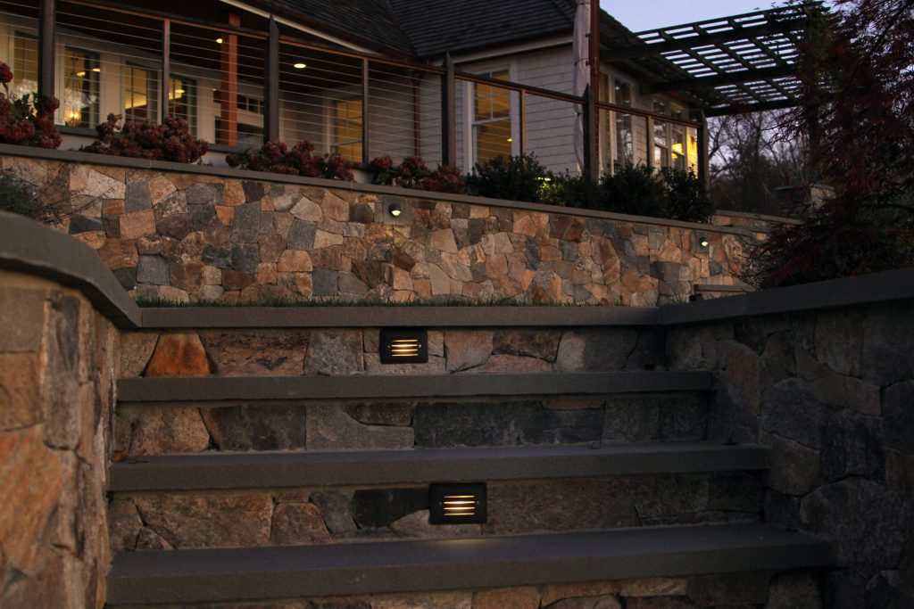 Jamestown Rhode Island waterfront home Griff Electric led lighting exterior lights step lights
